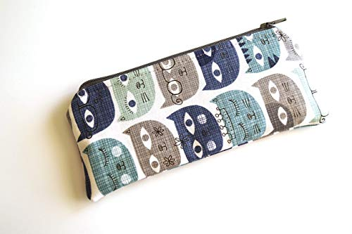 Blue Cat Fabric Pouch or Glasses Case