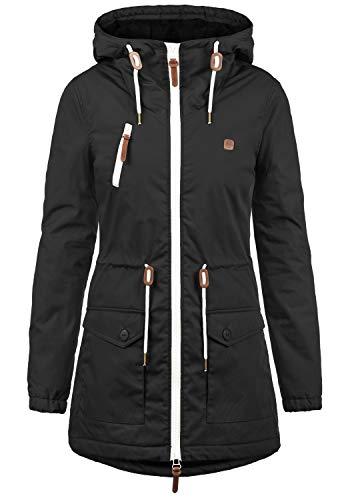 DESIRES Tilonga Damen Übergangsparka Parka Übergangsjacke Lange Jacke mit Kapuze, Größe:XS, Farbe:Black (9000)