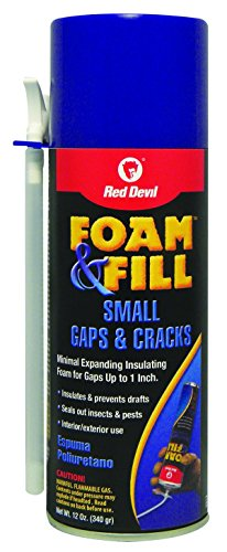 Red Devil 0913 Foam & Fill Small Gaps & Cracks Expanding Polyurethane Sealant, 12 oz, Off-White, Pack of 1