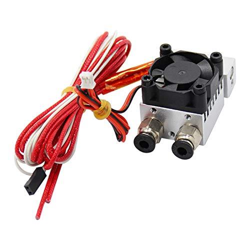All Metal V6 extrusor 2 en 1 de doble color para impresora 3D 1.75 mm filamento multi-extrusión V6 Bowden Hotend Kit, 12V 40W, plata, 1