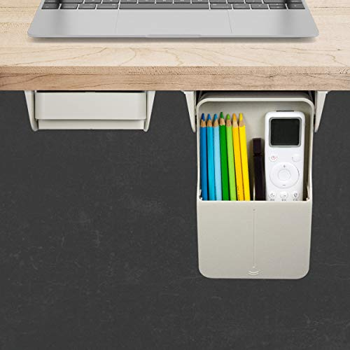 Airtaxiing Under Desk Drawer - (1Pack) Under Desk Storage Drawers Hanging Storage Under Desk Hidden Drawer Slide Out Attachable Self-Adhesive Storage Stick Under Table for Pens/Pencils/Keys