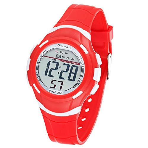 Reloj Digital Deportivo para Niños, Reloj de Pulsera Niña Multifunción con Pantalla LED Impermeable 30M para Niños, Niñas Reloj Infantil Aprendizaje para Niños 4-15 Años (Rojo)