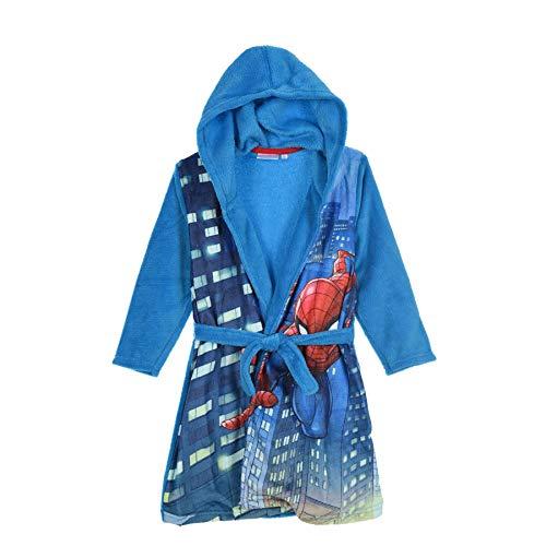 Spiderman Marvel Jungen Coral Fleece Bademantel Blau 3-4 Jahre (104CM)