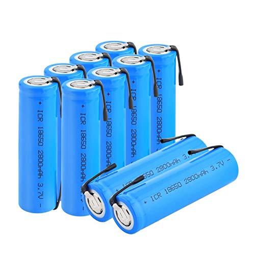 RitzyRose Batería De Litio De Iones De Litio ICR 18650 De 3.7v 2800Mah, Batería Recargable con PestañAs para Linterna Frontal para PortáTil 10Pcs