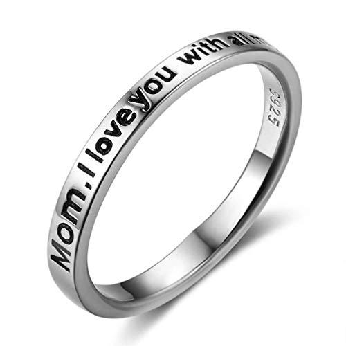 Holibanna Anel de prata esterlina 925 com letras gravadas em anel de amor para filho e filha (tamanho 14)