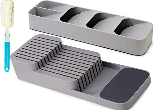 CGBOOM Drawer Store Set Kitchen Drawer Organizer Tray for Cutlery and Knives Gray