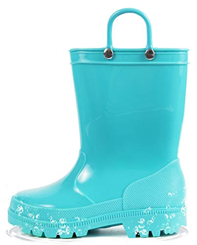 HugRain Kids Rain Boots Boys Toddler Baby Waterproof Shoes Lightweight Adorable Cute Solid Rubber mud Boots Non slipwith Easy-On Handles (Size 2,Blue)