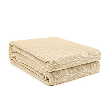 WAVERLY 100% Cotton Chevron Pattern Blanket (Wheat, Full/Queen)