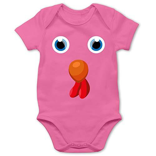 Shirtracer Karneval und Fasching Baby - Hahn Hähnchen Kostüm - 1/3 Monate - Pink - Fun - BZ10 - Baby Body Kurzarm für Jungen und Mädchen