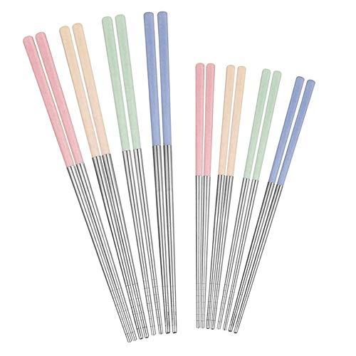 8 pares de palillos de metal, dos tamaños de palillos reutilizables de 23 cm y 19 cm, palillos de acero inoxidable 304 Premium para cocina