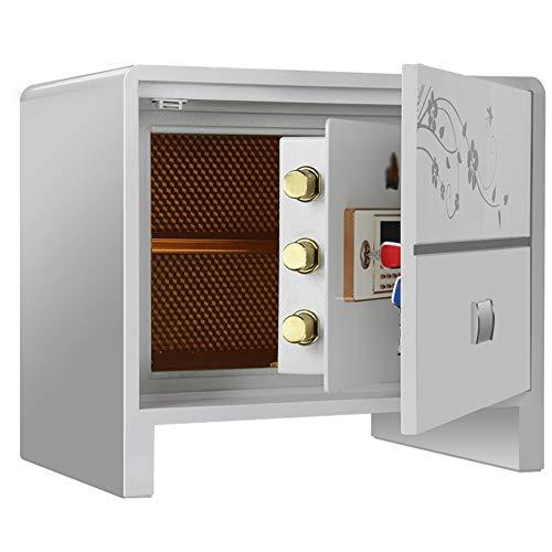 Tresor Safe 56x41x50cm, mit 2 Doppelstahlbolzen, elektronischem Zahlenschloss, 2 Notfall Vorrang Tasten,für Schmuck Bargeld Dokument,Weiß