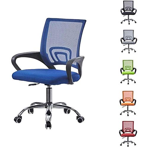N/Z Daily Equipment Beauty Chair Barber Chair Computer Chair with Arms Adjustable Office Chair Lumbar Support On Wheels Executive Mesh Chair for Desk Home Office (Color : Blue)