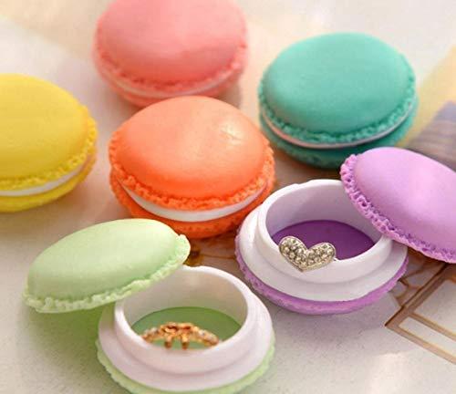 Générique mini macaron cosmétique bijoux boîte de rangement voyage boucle d'oreille case organisateur, couleurs aléatoires, 6 PCs