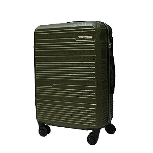 Set trolley abs rigido 3 pz valigie viaggio bagaglio a mano 8 ruote 80100 Verde Militare Cm 70/60/50 Grande/Media/Piccola
