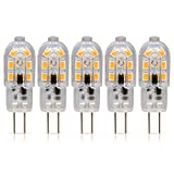 Simba Lighting LED G4 Bulb (5 Pack) 1.5W T3 20W Halogen Replacement 12V AC/DC JC Bi-Pin Base for Accent Lights, Under Cabinet Puck Light, Chandeliers, Track Lighting, Non-Dimmable, Soft White 3000K