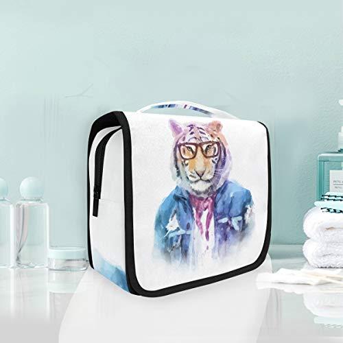 Mr.XZY Bolsa de aseo Acuarela Animales Pintura Personalidad Tigre Multifunción Cosmético Diseño Portátil Bolsa de Maquillaje Bolsa de Viaje Colgando Organizador Bolsa para Mujeres Niñas 2010764