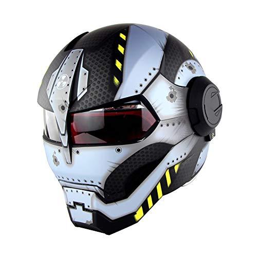Aks Yue Flip-Up Motorrad Modular Sturzhelm, Iron Man Full Face Personality-Motorrad-Roller Racing Erwachsene Helm, Open Gesichtsmaske Helme für Vier Jahreszeiten,Matte,M