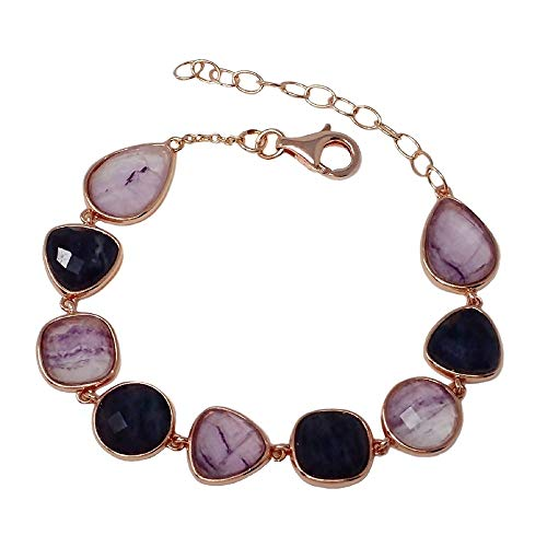 Pulsera plata Ley rosada GLAMOUR 925 piedras naturales 20.5cm [AC0731]