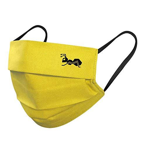 strongAnt Mund Nasenmaske. Mundbedeckung 100% Baumwolle 3 Lagen inkl Filter. Wiederverwendbar waschbar - Made in EU 5er Pack, Gelb