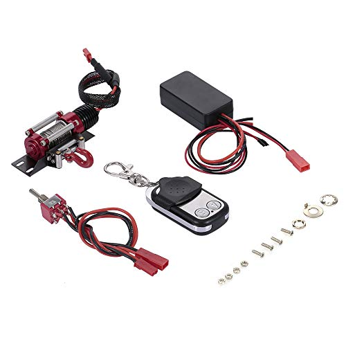 GoolRC 1/10 RC Rock Crawler Steel Wired Automatic Crawler Winch Control System and Wireless Remote Receiver for Traxxas HSI Tamiya CC01 Axial SCX10 D90 RC Crawler