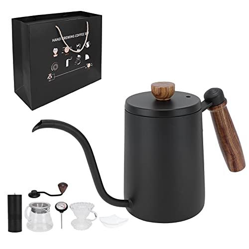 KASD Cafetera, Kits completos El Kit de Molinillo de café se Adapta Perfectamente al Embudo de Filtro para la Cocina del hogar(Juego de 7 Piezas Negro, Azul)