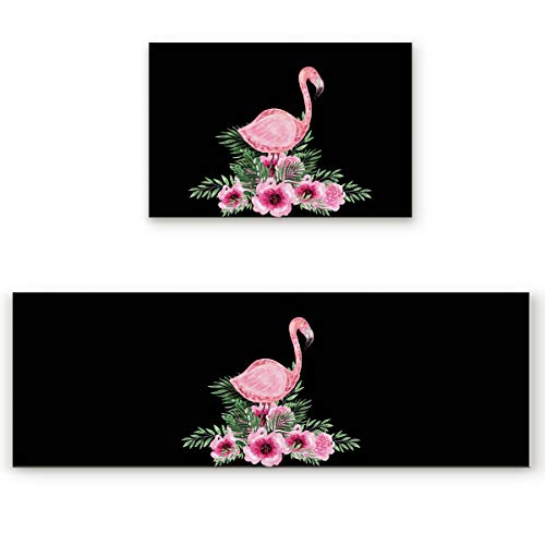 Big buy store Kitchen Rug Sets 2 Piece Flamingo Flower Non Slip Anti Fatigue Floor Mats Pink Comfort Soft Absorb Cushioned Standing Doormat Runner Rugs (19.7x31.5+19.7x47.2 inch)