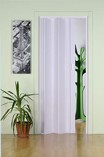 Falttür Falttüre aus PVC Kunststoff Nischentüre WEISS H 214 x 83 cm Schiebetür platzsparend doppelwandig