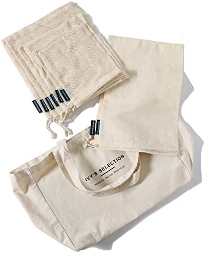 Ivy's Selection Certified Organic Cotton Mesh Bag, Bread Bag and Canvas Tote Bag, 9 Pcs