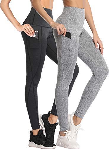 Neleus – Calça legging feminina para ioga, controle de barriga, 102 Dark Grey/Light Grey, 2 Pack, XL