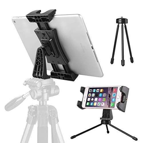 Tablet Mount Adapter with Mini Tripod, Adjustable Ipad Tripod Stand Recording Video & Photo with 1/4 Inch Thread, 360°Rotation & 30°Tilt Tablet Holder for Monopod, Selfie Stick, Desktop