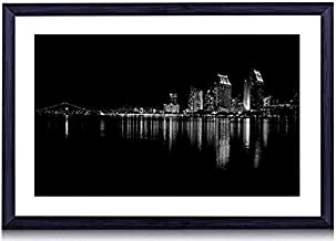 Coronado Island At Night - Art Print Black Wood Framed Wall Art Picture For Home Decoration - Black and White - 24