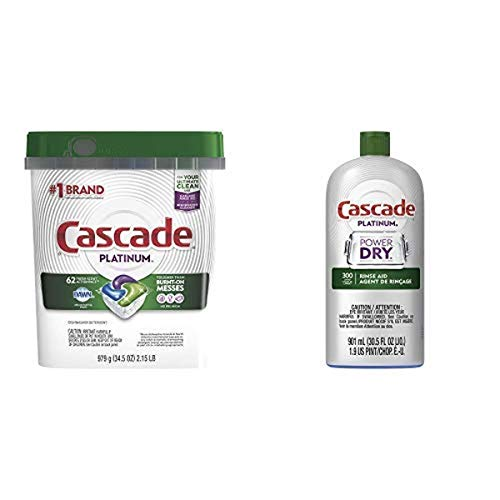Cascade Platinum ActionPacs Dishwasher Detergent, Fresh, 62 Count per Pack, 34.5 Ounce with Cascade Platinum Rinse Aid, 901 ml, Regular Scent