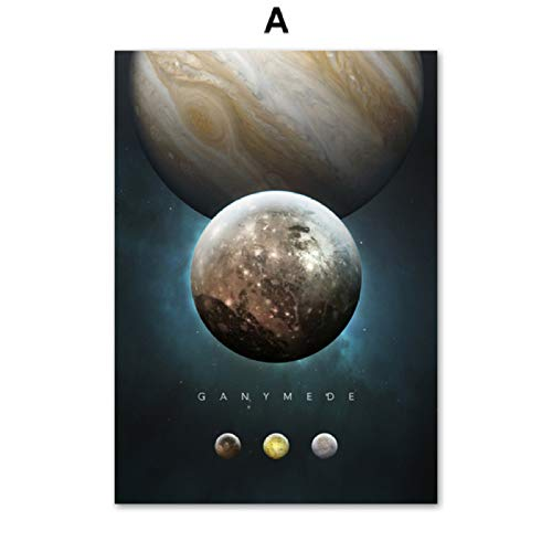 Uranus Planet Satellite Solar System Nursery Wall Art Canvas Painting Nordic Posters And Prints Wall Pictures For Living Room A 30 * 40cm