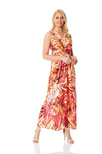 Roman Originals dames maxi-jurk met tropenprint - dames maxi-jurk met V-hals, zomer, feestjes, casual, vakantie, strand, avonds, vloerlang, mouwloos