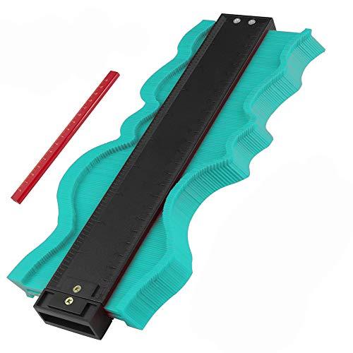 Konturenlehre Yimorex 10 Zoll/ 25cm Laminat Duplikator Profil Messwerkzeug, Fliesen Laminat Holz Markierungswerkzeug Kopierer mit Maßband unregelmäßiges Konturmessgerät für kreisförmige Rahmen (Grün)