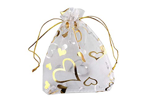 QIANHAILIZZ 3.5 x 4.7 Inch 100 Flower Organza Jewelry Gift Pouch Candy Pouch Heart Drawstring Wedding Favor Bags (White Gold Heart)