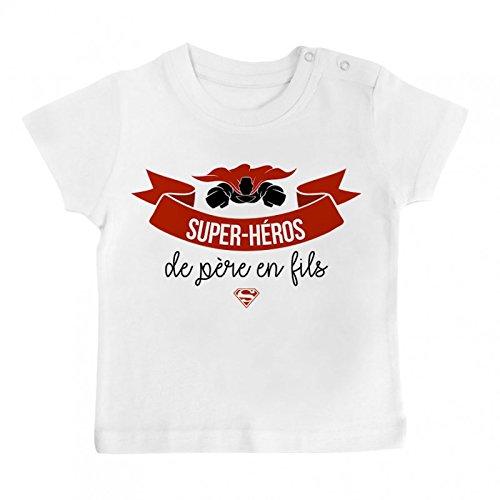 Inconnu T-Shirt bébé Super-héros de père en Fils