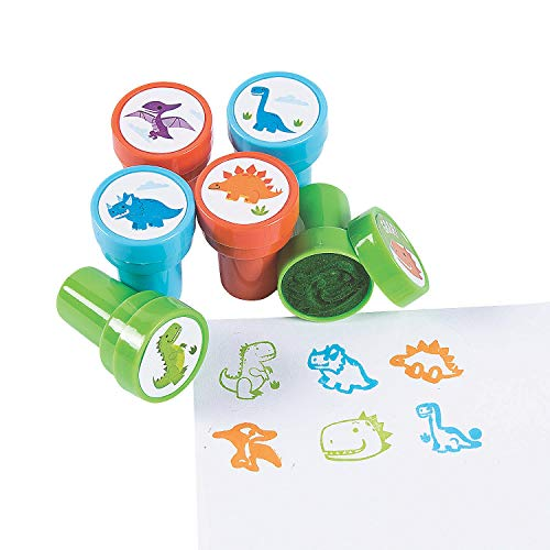 Trendy Dinosaur Stampers - Bulk set of 24 - Party Favors, School Giveaways, Easter Fillers and Craft Supplies for Kids