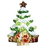 Roman Snow Covered Christmas Tree 5 Inch Acrylic Swivel Plug-in Bubble Night Light
