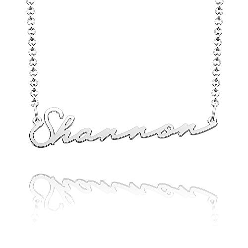CLY Jewelry Name Necklace of Silver Plated Custom Made with Personalized Gift for Women Girls Couple Silver