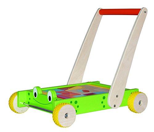 Hape International 24 teiliges Set. Holz Lauflernwagen Frosch mit bunten- und naturfarbenen Massivholzbausteinen. Räder gummiert für einen leisen Lauf. Safe Toys geprüft!