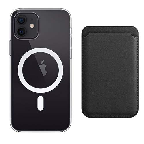 Compatible with iPhone 12/Pro/Max/Mini Leather Wallet Card Holder & Magnetic Clear Phone Case Cover (iPhone 12 Pro Max, Black)