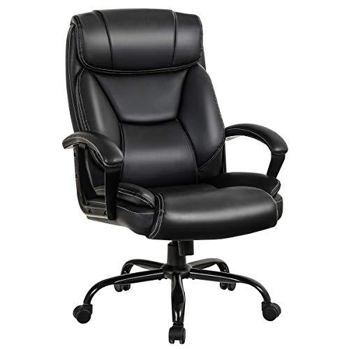 COSTWAY Bürostuhl Chefsessel belastbar bis 220kg, höhenverstellbarer Computerstuhl 360 ° drehbar, moderner Lederstuhl mit Rückenlehne, Kopfstütze, Lordosenstütze und gepolsterter Armlehne,