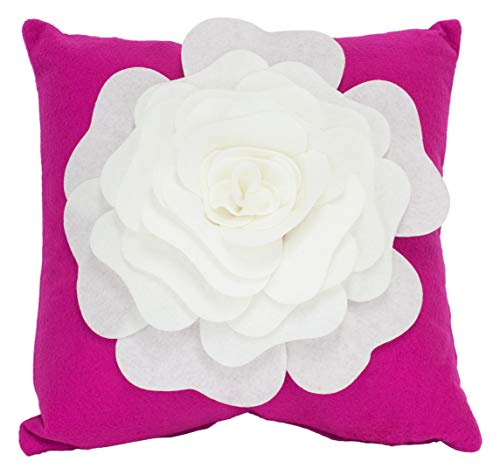 Fennco Styles Large Felt 3D Rose Decorative Throw Pillow Cover 17 x 17 Inch - Magenta Flower Pillow Case for Couch, Home Décor, Bedroom Décor and Holiday, Housewarming Gift