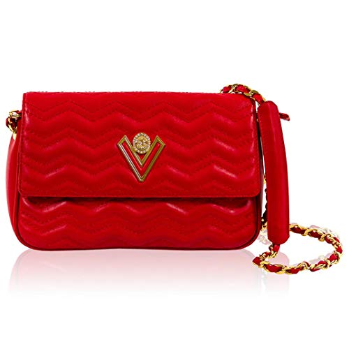 Valentino Orlandi Women's Small Handbag Foldover Clutch Italian Designer Purse Flame Scarlet Red Genuine Leather Tote Purse Crossbody Bag in Croc Wavy Design with Chain Strap