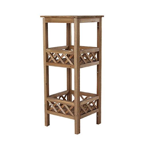 Peaceip Petite fleur stand coin carré 2-couche intérieure plancher de bois massif salon balcon TV côté fleur stand