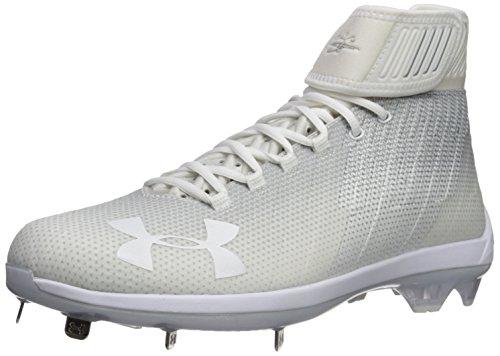 Under Armour Men's Harper 2 Mid ST Baseball Shoe, White (100)/Metallic Silver, 14