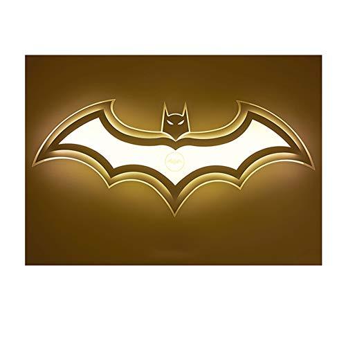 LXMBHDB Plafonnier à intensité variable - Design Batman - Chambre à coucher - Chambre d'enfant - Chambre d'enfant - Lumière chaude