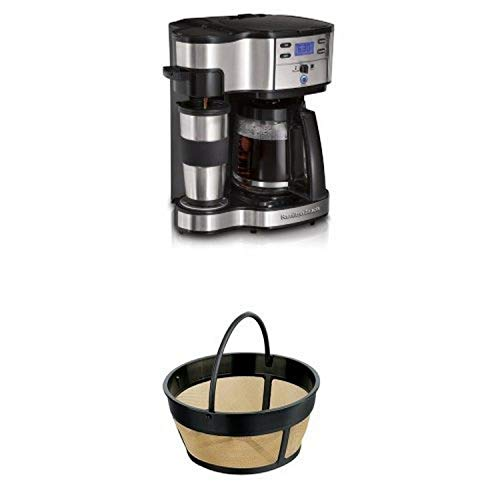 Hamilton Beach Single Serve Coffee Brewer and Full Pot Coffee Maker and 80675 Permanent Gold Tone Filter Bundle