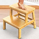 IPOW Multi-Purpose 2 Step Stool for Kids Adults Supports 200 lbs Natural Bamboo Kids Toddler Stepping Stool Toilet/Kitchen/Bed Step Stool - Stable Natural Anti-Slip Wider Two-Step Stool to Reach High
